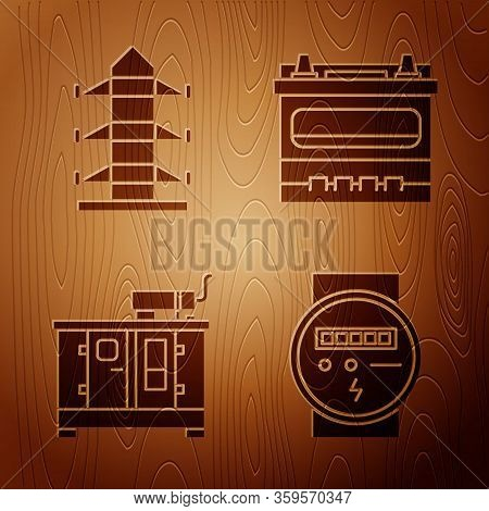 Set Electric Meter, High Voltage Power Pole Line, Diesel Power Generator And Car Battery On Wooden B