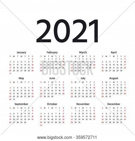 Calendar 2021 Year. Vector. Week Starts Sunday. Calender Layout. Stationery Template. Yearly Organiz
