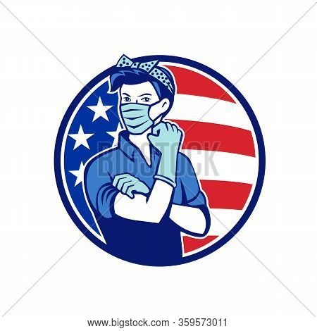 Mascot Icon Illustration Of American Rosie The Riveter As Medical Healthcare Essential Worker Wearin