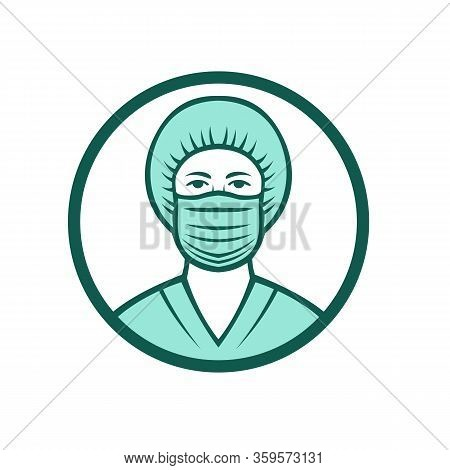 Mascot Icon Illustration Of Bust Of A Medical Professional, Nurse, Doctor, Healthcare Or Essential W