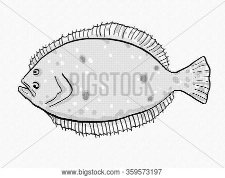 Retro Cartoon Style Drawing Of A Summer Flounder , A South Carolina Inshore Saltwater Marine Life Fi