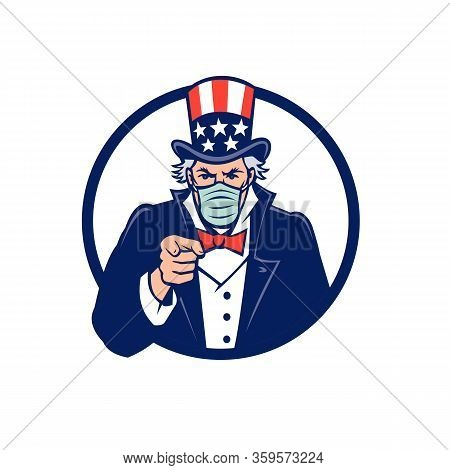 Mascot Icon Illustration Of American Uncle Sam, National Personification Of The U.s. Government, Wea
