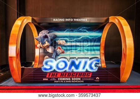 Bangkok, Thailand, 20 Feb 2020 - A Beautiful Standee Of A Movie Called Sonic The Hedgehog Display At