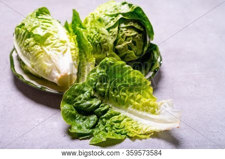 Fresh Green Raw Romaine Or Cos Salad Lettuce Close Up