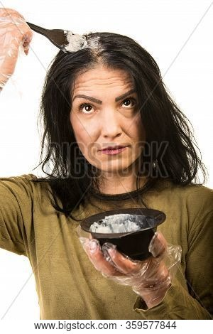 Woman Applying Dye Hair Isolated On White Background