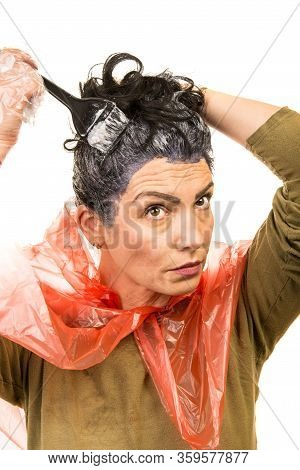 Woman Apply Black Dye Hair By Herself Isolated On White Background