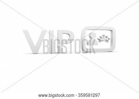 Vip Concept White Background 3d Render Illustration