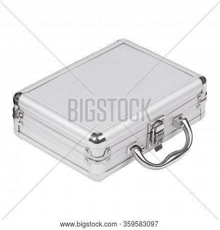 Aluminum Closed Case Suitcase Isolated On White Background