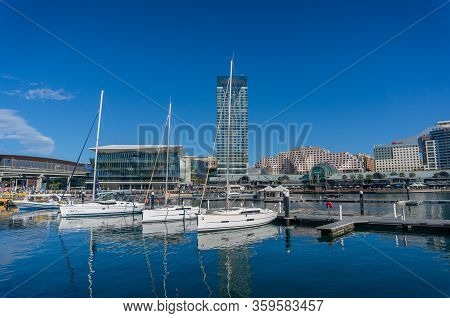 Sydney, Australia - July 23, 2017: Darling Harbour Harbourside With Icc, International Convention Ce