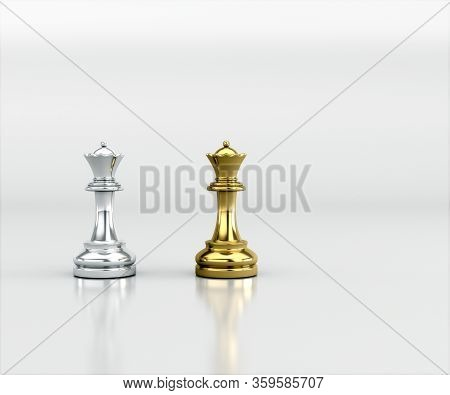 Gold And Silver Chess, Isolate Clipping Path, Clipping Mask. Gold And Silver Chess Battle, Chess Vic