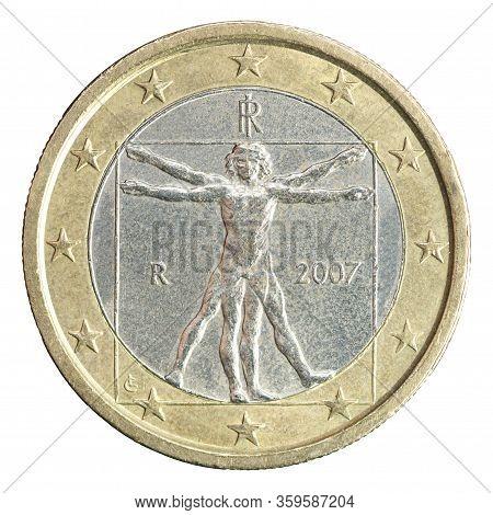 One Euro Coin With The Image Of Leonardo Da Vinci Harmonious Man Uomo Vetruvio , Exhibited At The Ac