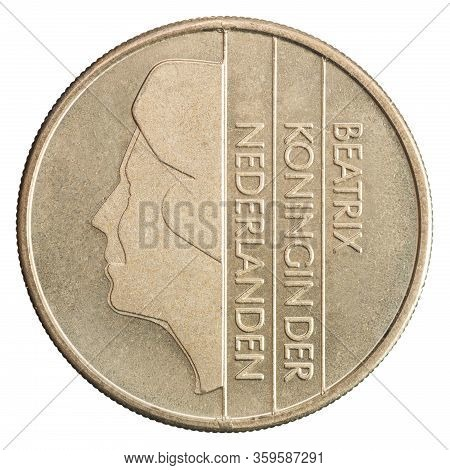 Netherlands Guilder Coins With The Image Of Queen Beatrix Isolated On White Background