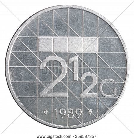 Netherlands 2.5 Guilder Isolated On White Background Close-up