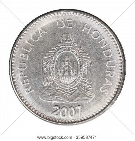 Honduran Centavo With Coat Of Arms Isolated On White Background