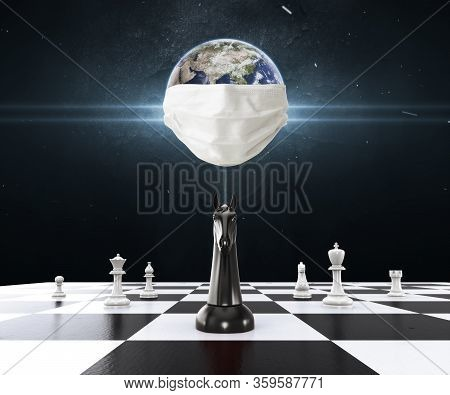 Earth Wearing Mask Protection With Chess On The Chessboard. Chess Business Concept, Leader & Success