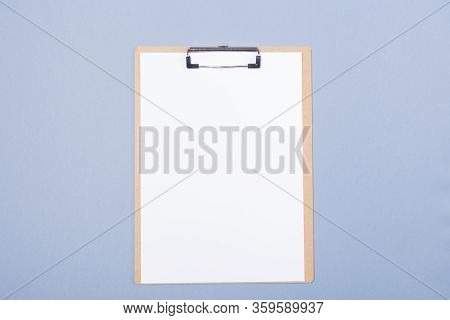 Mockup Of Wooden Clipboard With Blank Paper Isolated On Light Grey Background. Mock Up. Free Space.