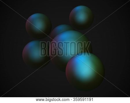 Abstract Futuristic Background With 3d Spheres. Concept Of Science And Modern Technology: Nanopartic