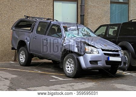 Unrecognizable Suv After Roll Over Traffic Accident Damage
