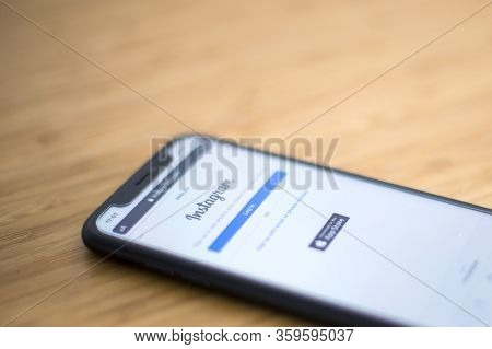 Belgrade, Serbia - March 9, 2020: Mobile Phone With Social Networking Service Instagram. Instagram I