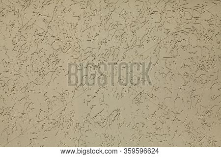 Tracery Gray (ash) Wall, Texture, Background. Plastered Building Wall, Painted With Water-based Beig