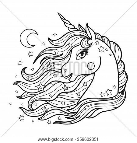 Beautiful Unicorn Head With Long Mane. Black And White Image. Vector