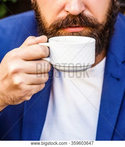 Coffee Drink. Bearded Man, Hands Holding A Hot Coffe Cups. Beard Man Hold Coffee Or Coffe Cup At Caf