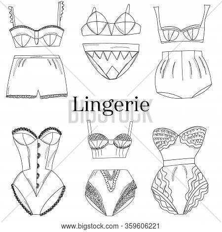 Line Art Female Lingerie Collection.