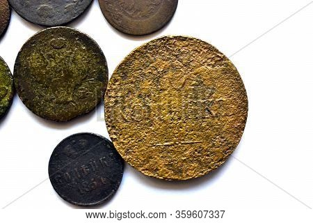 Old Imperial Russian Coins On A White Background (translation: Kopeck, Kopeck In Silver)