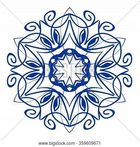 Vintage Traditional Folklore Circle Patterns In Spain Or Potruguese Style, Blue Cobalt Ceramics Desi