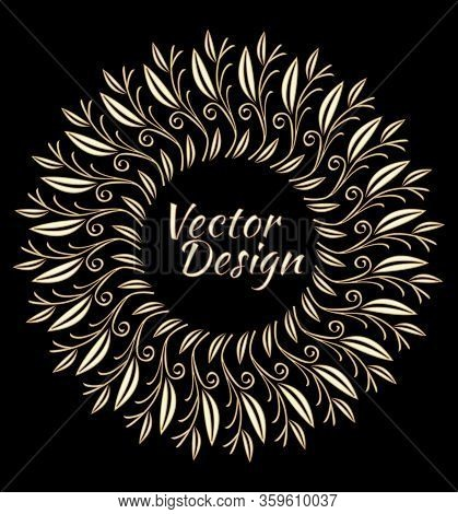 Gold Patterns Composed Of Branches And Leaves, 3d Illusion, Circle Frame On Black Background, Luxuri