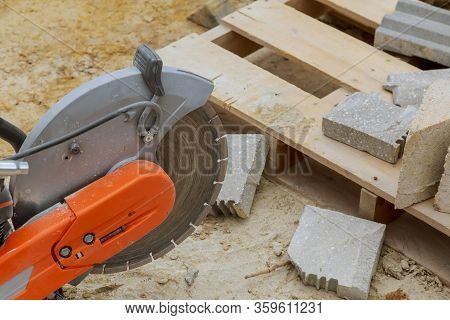 Sawing Machine For Cutting Marble Stone At Reconstruction Area. Closeup