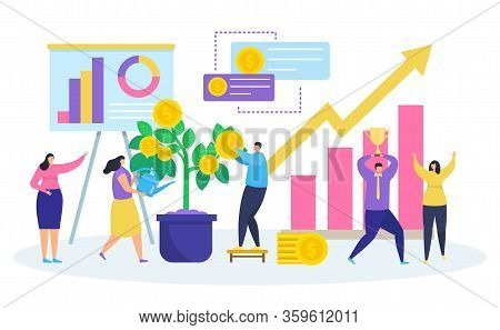 Business Investment Vector Illustration. Cartoon Tiny People Watering Money Tree Plant With Coin Lea