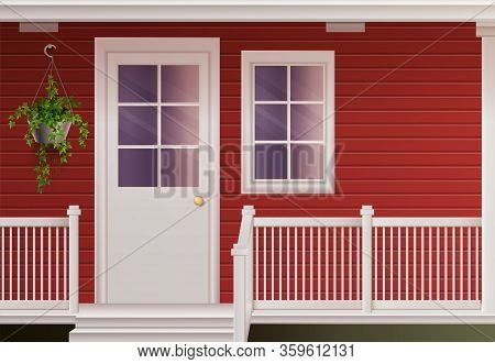Private Country Cottage House Facade With Entrance Door And Fenced Porch Realistic Poster Vector Ill