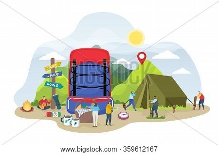 Tourist Camping Illustration. Cartoon Tiny People Preparing Campsite Tent In Summer Day, Flat Camper