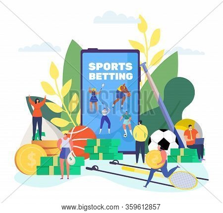 Sports Betting Online Vector Illustration. Cartoon Tiny People Bet Sportive Soccer Competition Using