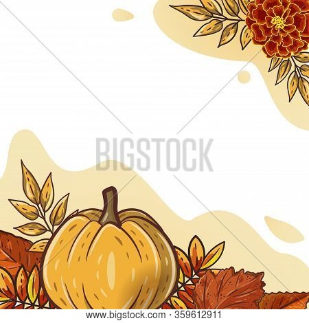 Autumn Leaves And Pumpkins For Postcard, Banner, Poster. Seasonal Rowan And Oak Leaves With Gourds F