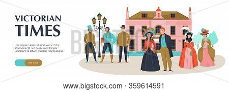 18th 19th Century Victorian Old Town Fashion Horizontal Banner With Editable Text Button And Medieva