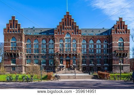 Lund, Sweden - April 4, 2012: Facade Front View Of The Old Famous University Library Made Of Red Bri