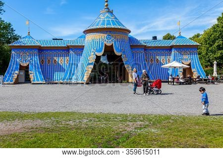 Haga, Sweden - July 18, 2012: Front View Of The Old Famous Blue Copper Tent At The Public Park Haga