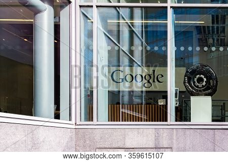 Dublin, Ireland - April 21, 2016: Outdoor Street View Of Google´s Dublin Office Reception With Googl