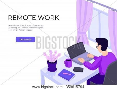 Man Working At Home Office. Character Sitting At Desk In Room, Looking At Computer Screen. Home Offi