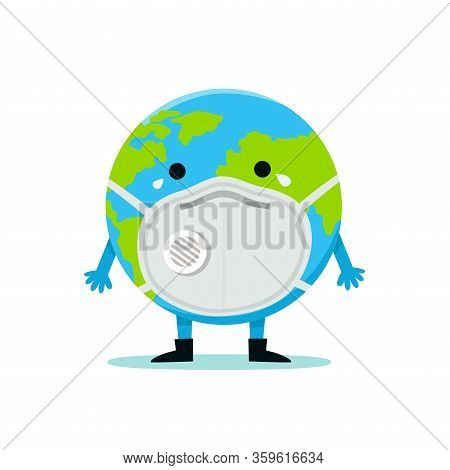 The Earth In A Face Mask To Prevent Disease, Flu, Air Pollution, Contaminated Air, World Pollution,