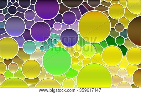 Abstract Vector Stained-glass Mosaic Background - Yellow And Violet Circles