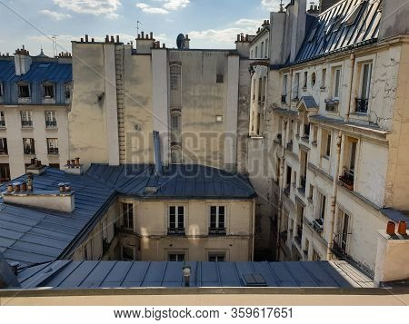 Paris Residential Buildings. Old Paris Architecture, Beautiful Facade, Typical French Houses.