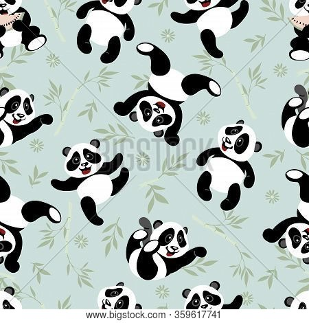 Seamless Texture With Funny Little Pandas. Pandas Have Fun. Design Elements For Kids.