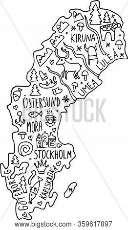 Colored Hand Drawn Doodle Sweden Map. Swedish City Names Lettering And Cartoon Landmarks, Tourist At