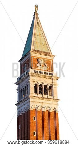 Top of St Mark's Campanile Isolated on White Background. Bell Tower of St Mark's Basilica in Venice, Italy.