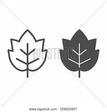 Grape Leaf Line And Solid Icon. Wine Leaf Emblem Or Logo Outline Style Pictogram On White Background