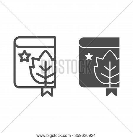 Book With Grape Leaf And Bookmark Line And Solid Icon. Notes Of Grapes Growing Outline Style Pictogr