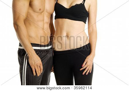 Man And Woman's Torsos Isolated On A White Background